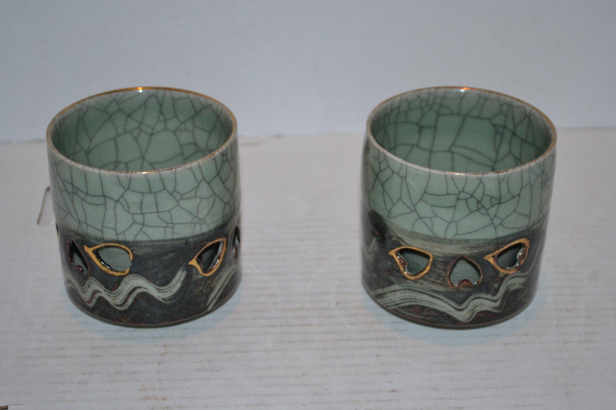 20th Century Pair of Japanese Tea Cups H. 4 X Dia. 3