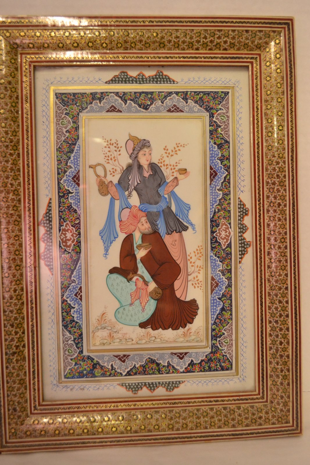 20th Century Middle Eastern Iranian miniature painting in a very finely inlayed frame