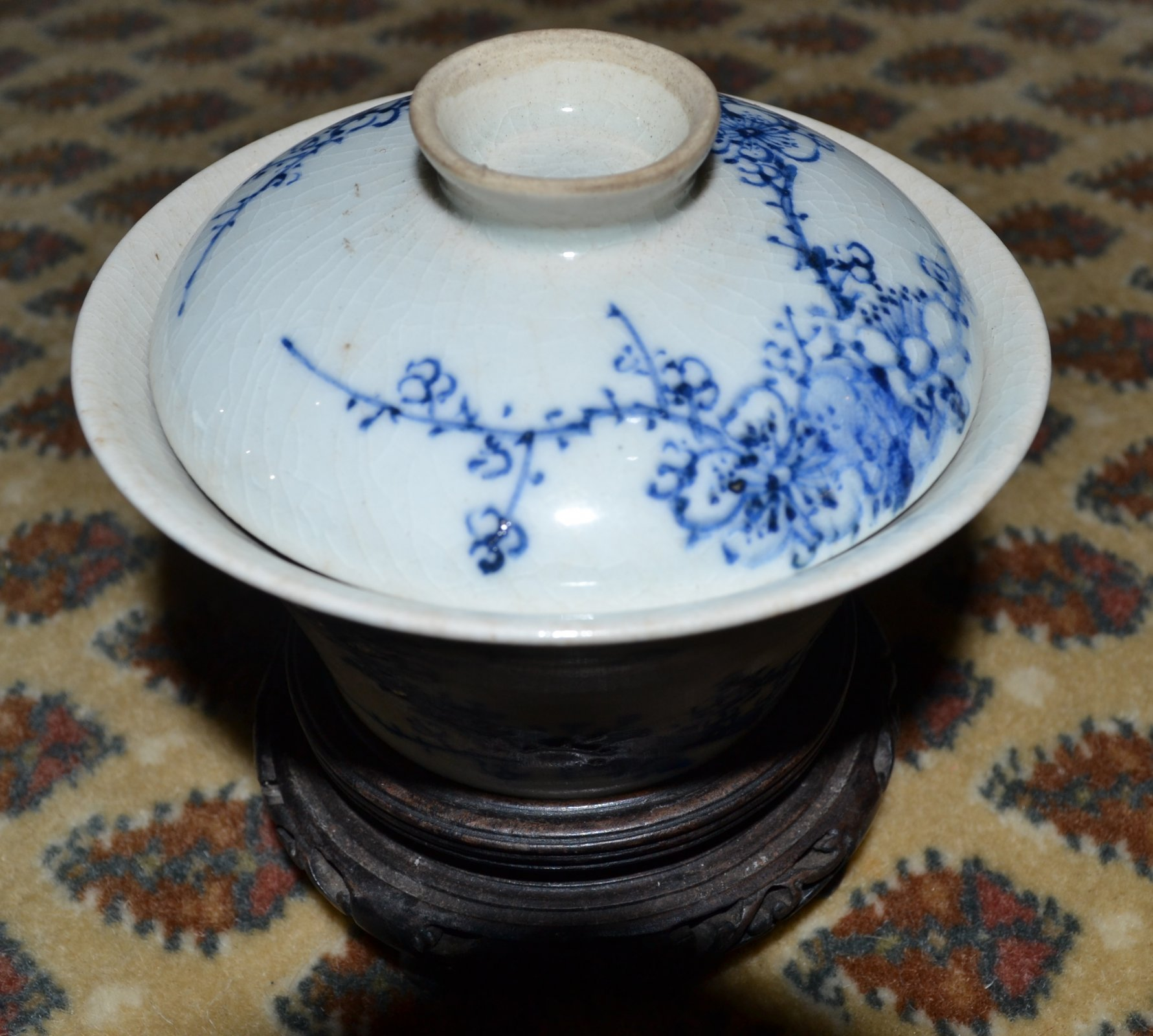 Chinese Blue and White rice dish with fitted lid