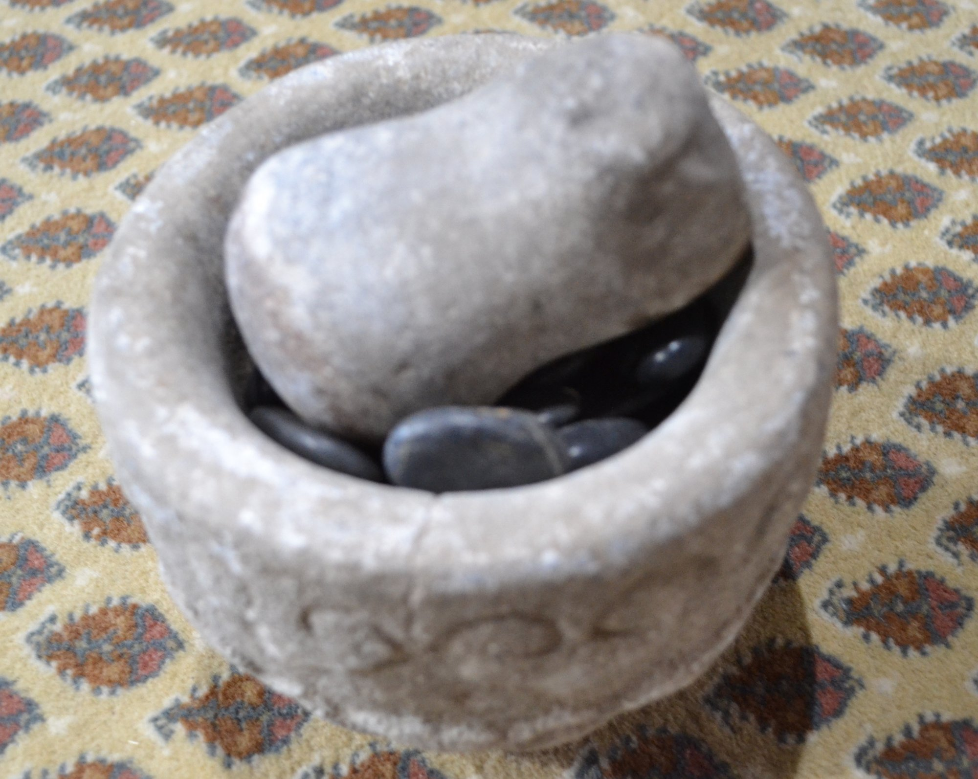 South American stone mortar and pestle