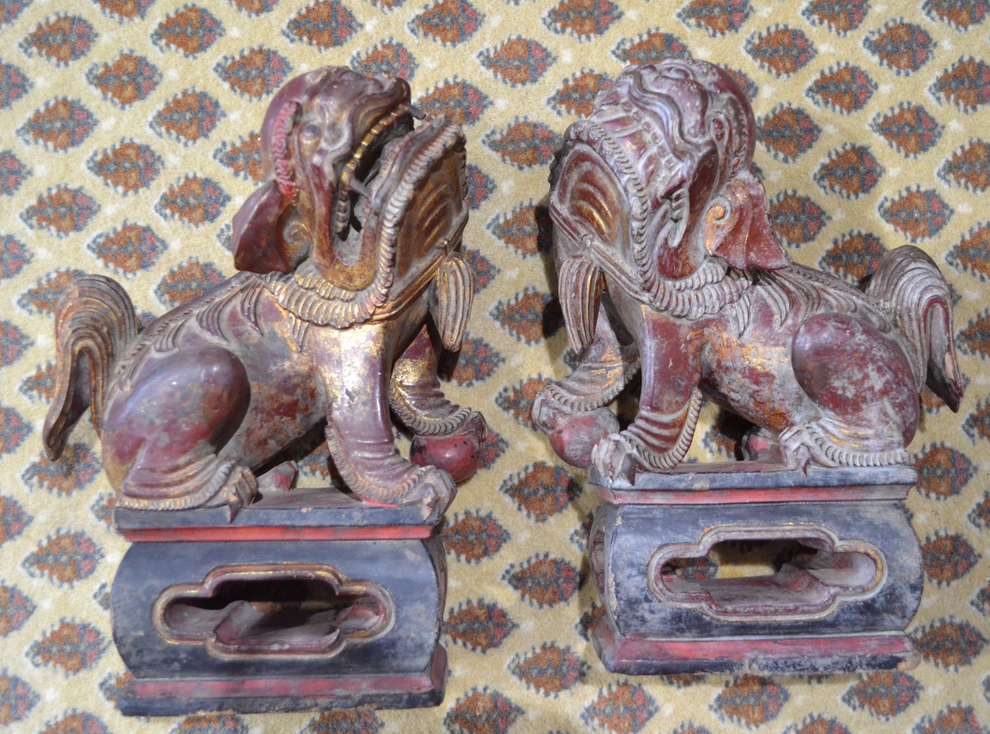 Chinese Pair of Hand Carved Foo Lions