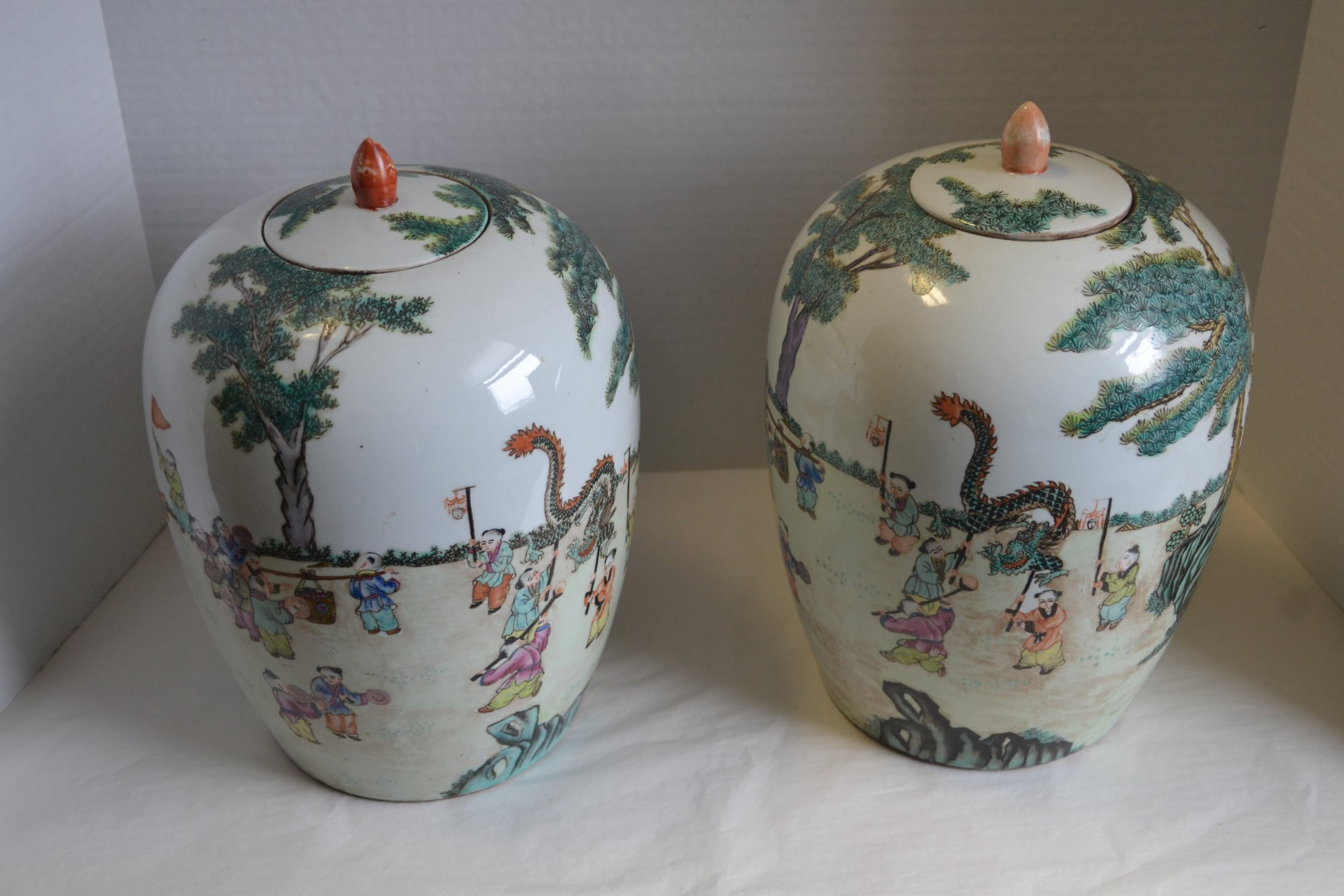 Chinese Pair of porcelain jars w/ lids
