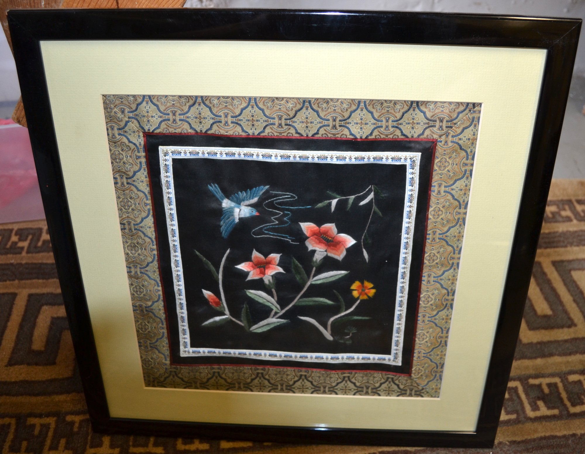 Chinese Silk Embroidery  black bkgd