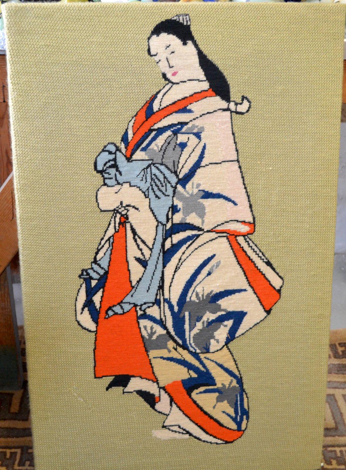 Japanese needle point of a Japanese Lady