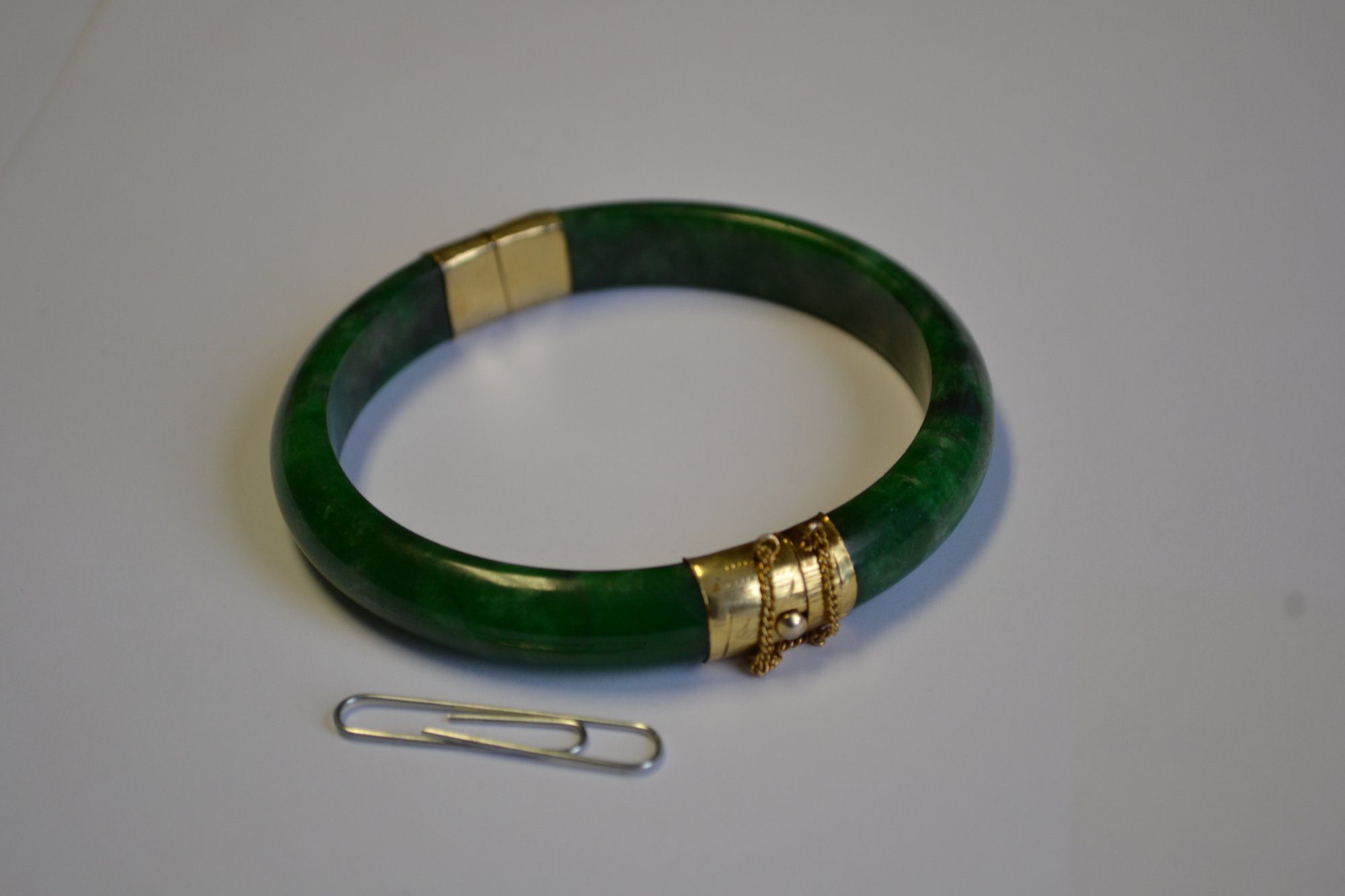 20th Century Chinese Jade Bracelet with gold clasps