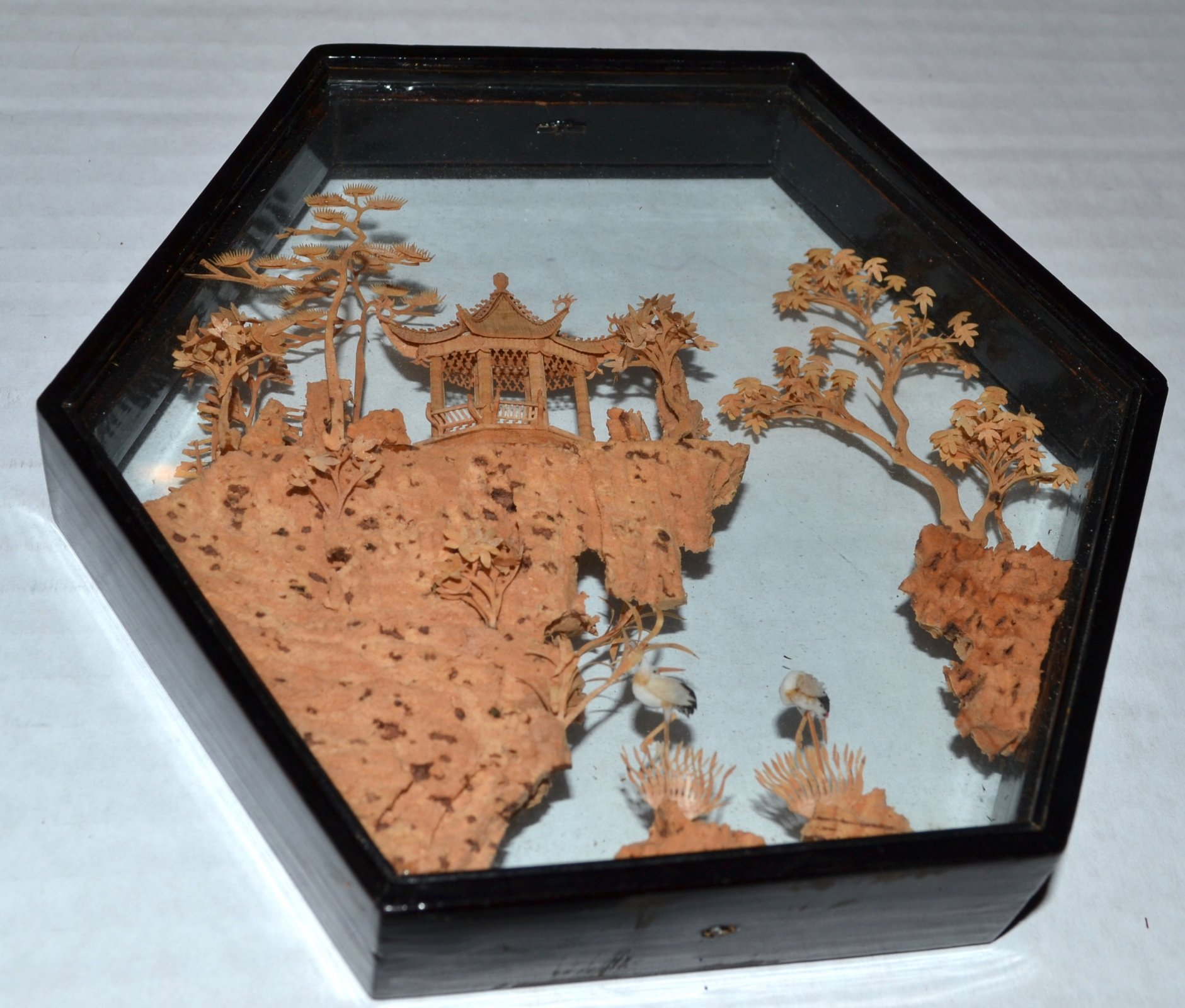 Chinese cork carving inside glass and wood