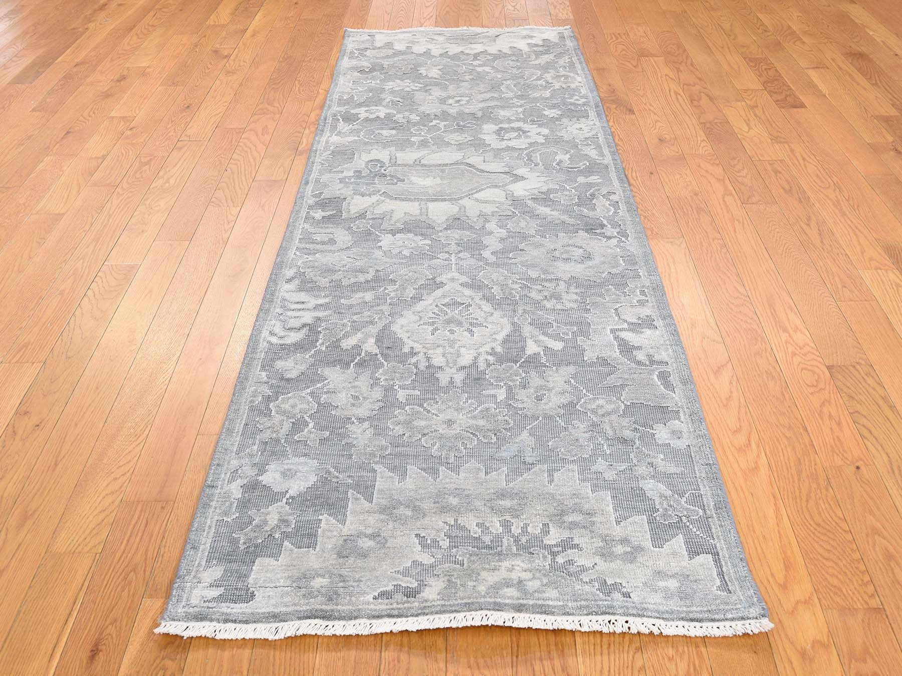 2'7 x 8'2 Silk With Oxidized Wool, Oushak, Hand Knotted Runner