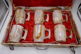 Set of 6 onyx mugs with box   PUX