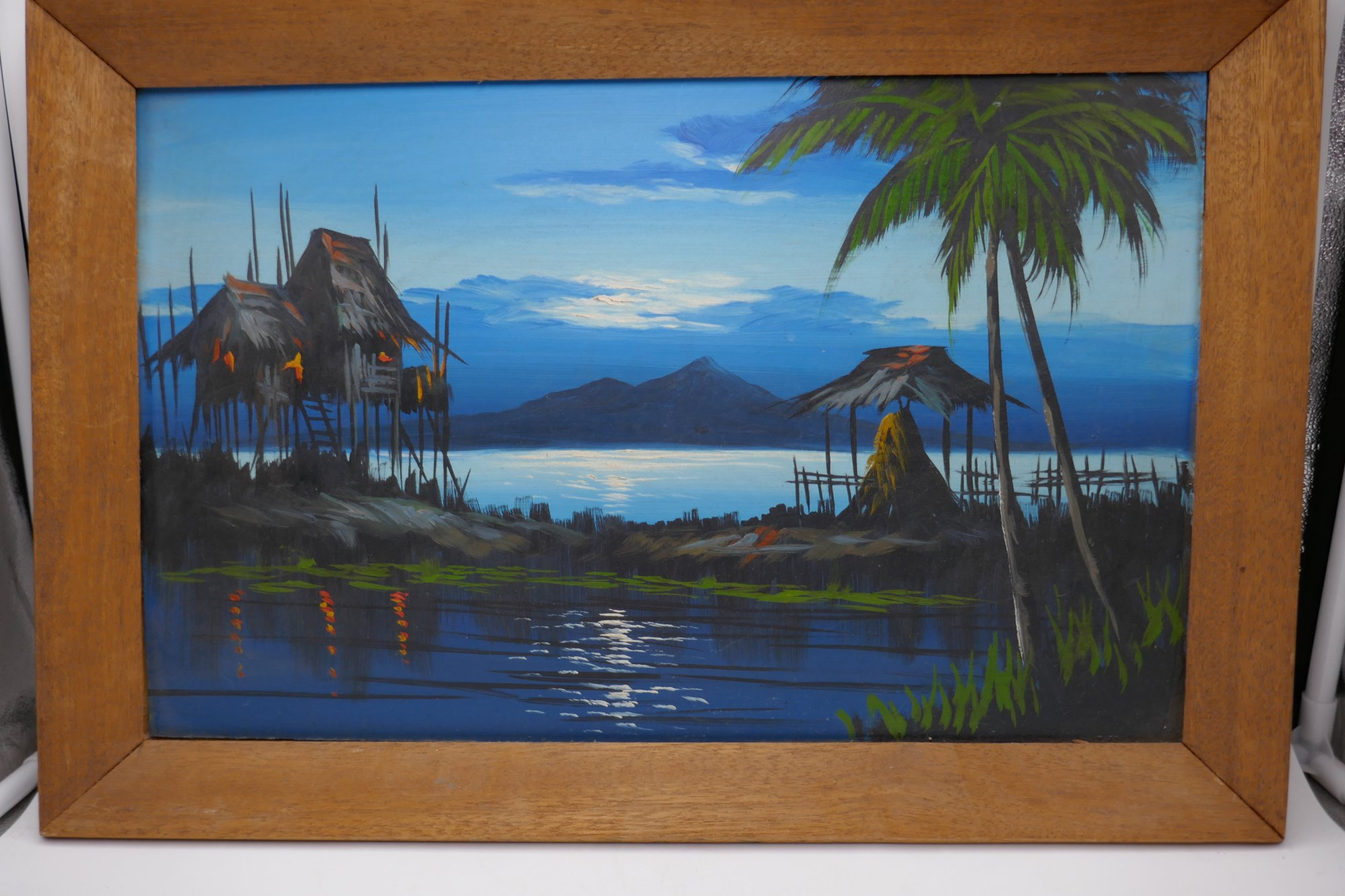 Small Framed Thai street art painting of a sea and land scape UX