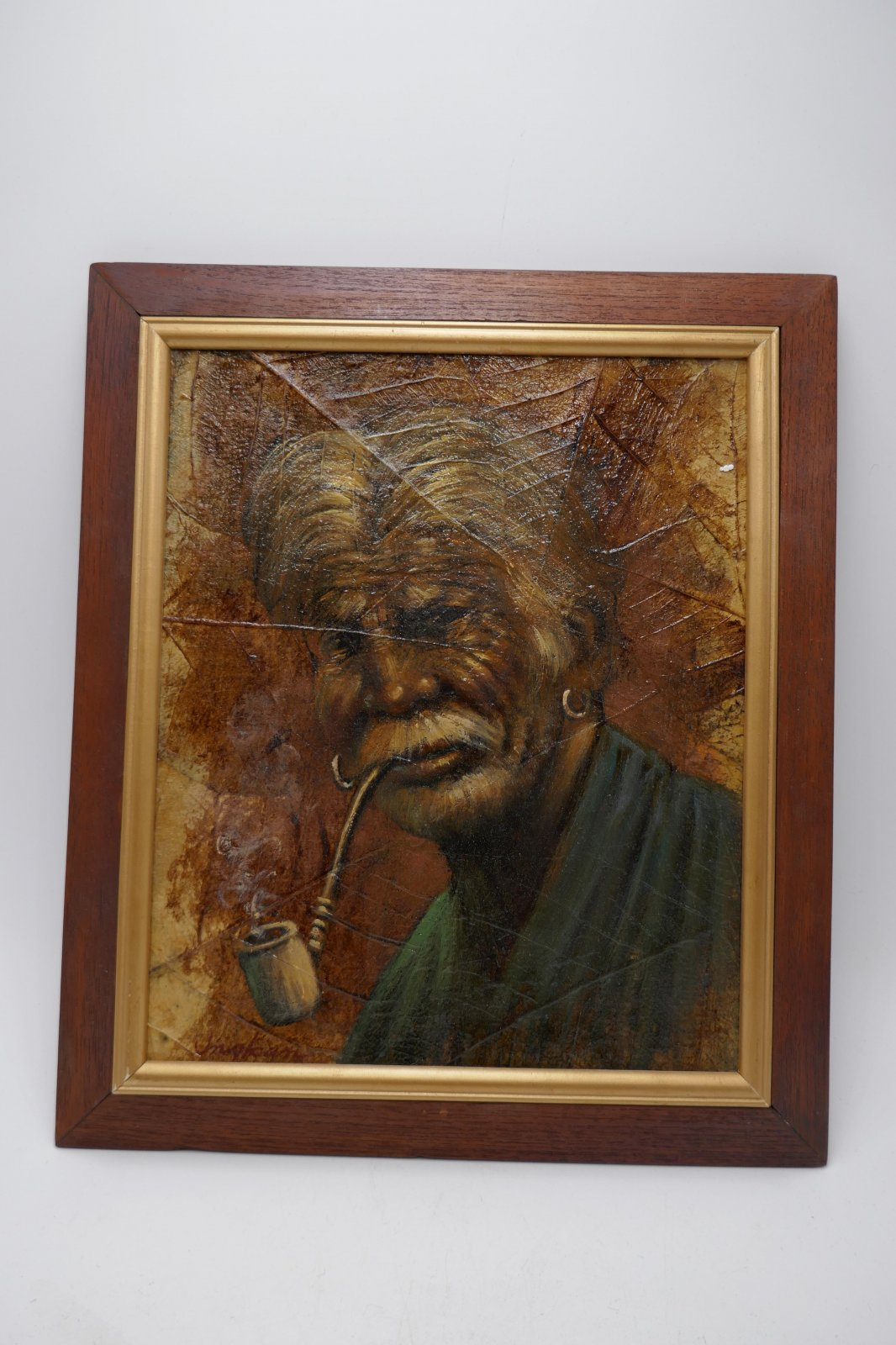 Thai leaf painting of an old man   DX