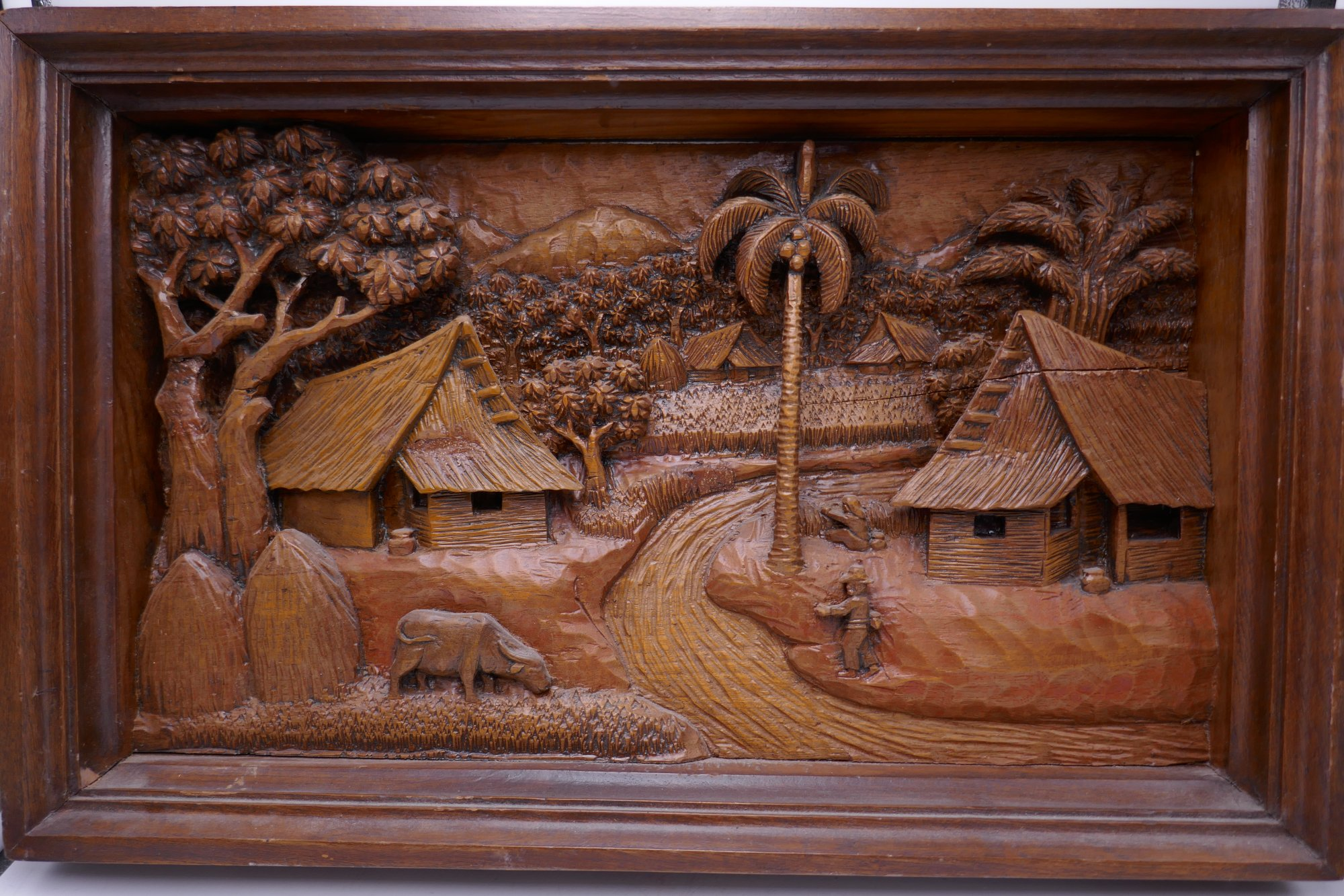 Thai Intricately carved wooden 3D wall art  PHX