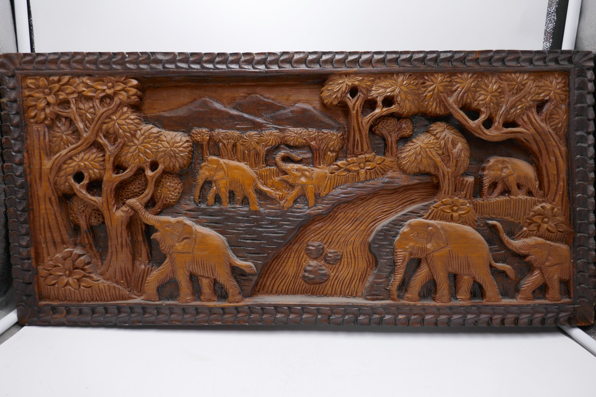 Thai intricately carved 3D wood wall art PHX
