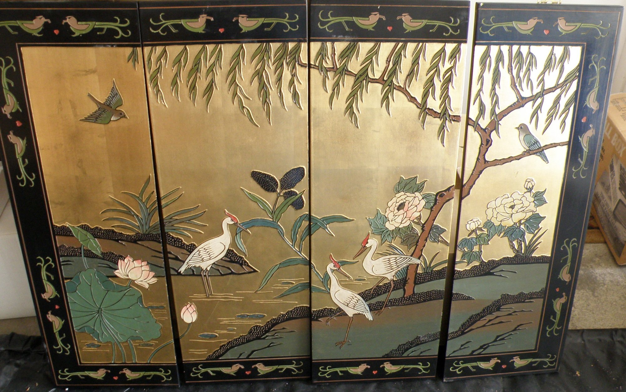 Chinese 4 Panel Screen with gold paint and birds