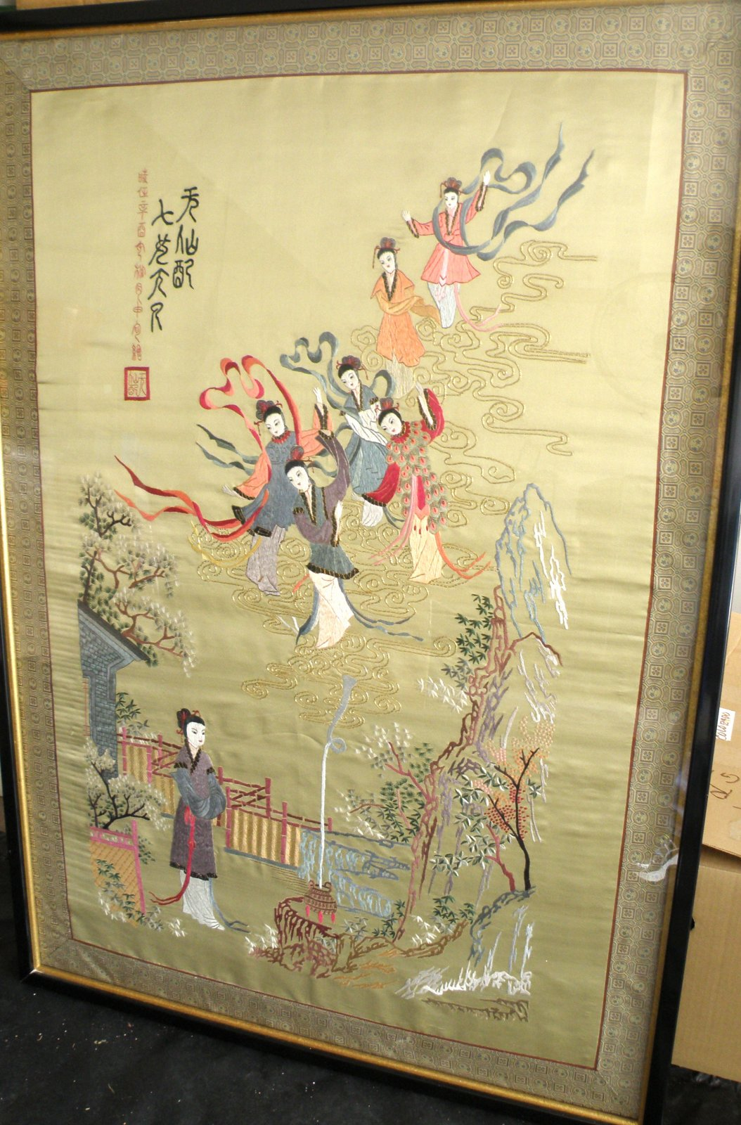 Chinese framed and glazed Embroidery