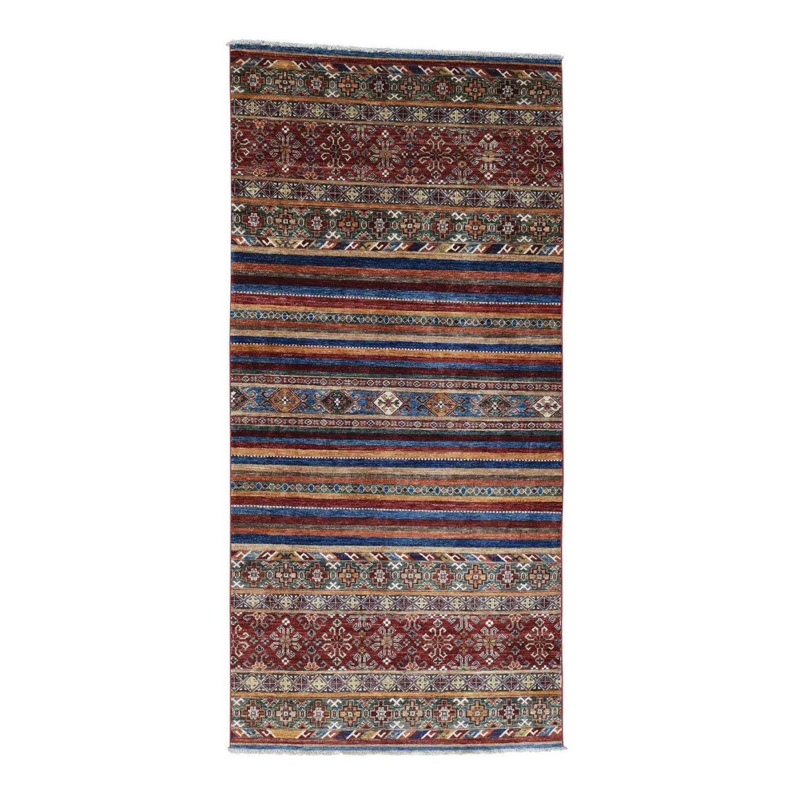 4' x 8'1 Kazak - Korjin Design - Hand-Knotted - Pure Wool
