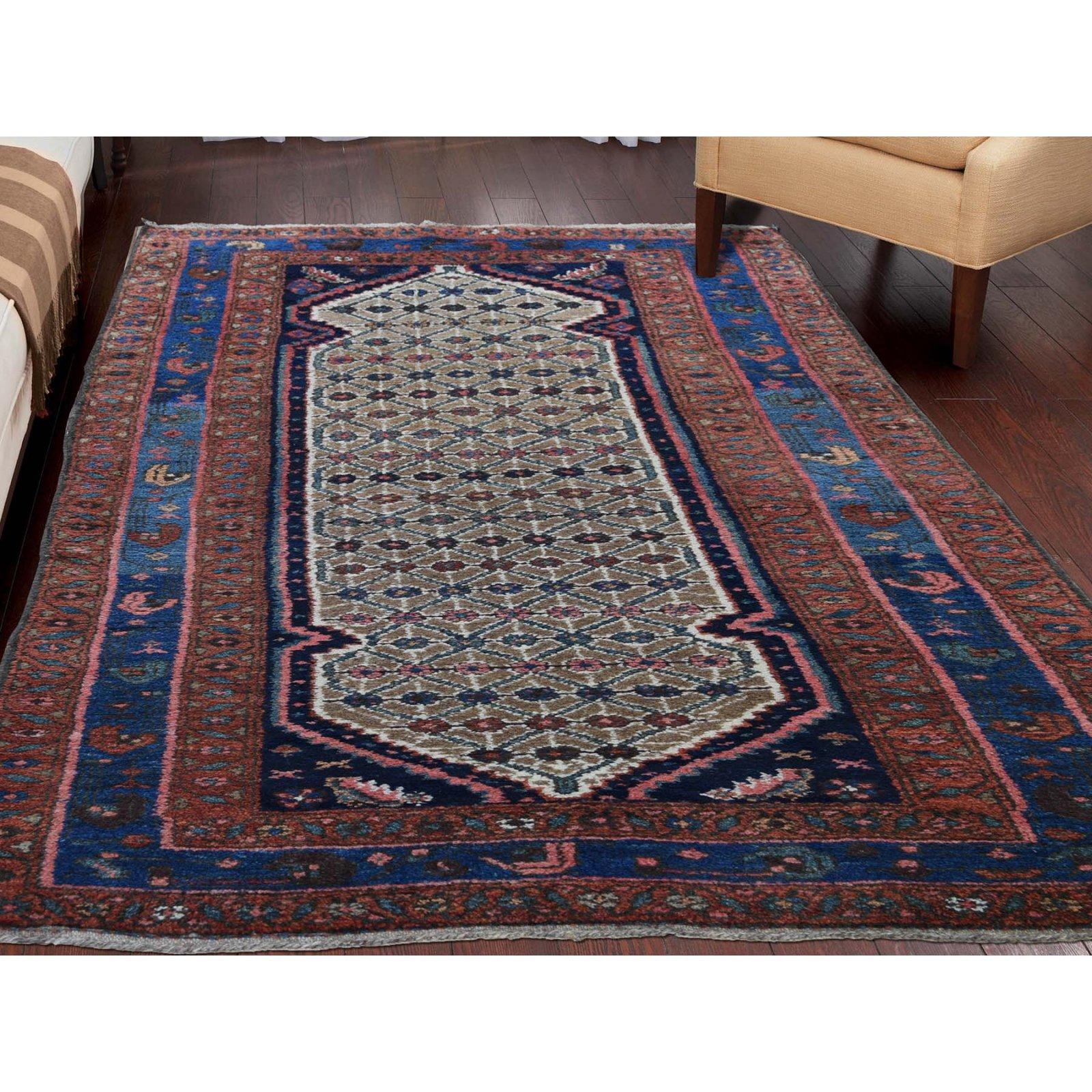 3'6 x 7'0 Antique Persian Camel Hair Hamadan, Pure Wool