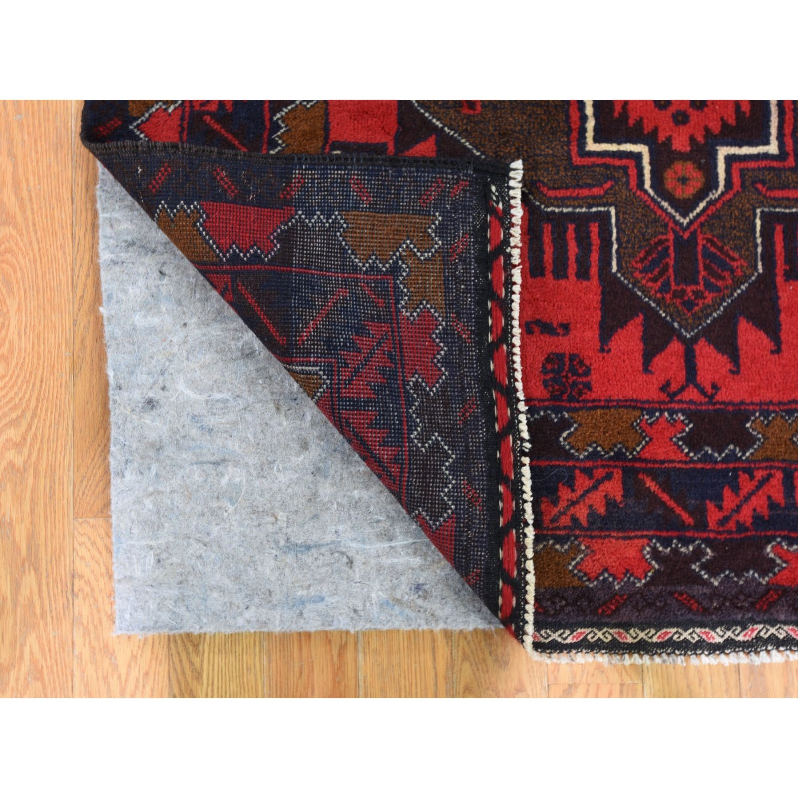 3'6 x 7'1 Afghan Baluch Geometric Design Wide Runner