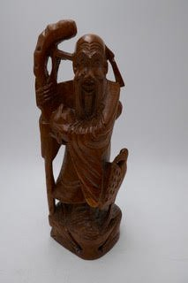 Chinese wood carving of Lou of the Fu Lou, Shu tyhree wise men/ star gods.  SX