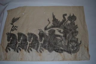 Thai temple rubbing of horses pulling a charriot   TX