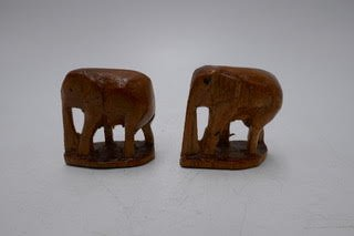 Pair of small Thai wooden Elephants UX