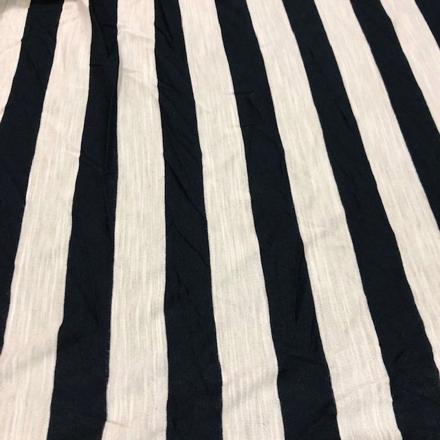 Polyester Rayon Lycra - Navy and Cream Stripe