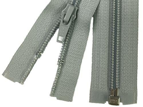 YKK #5 Coil 1-Way Separating Zipper - 30 inch - Light Grey