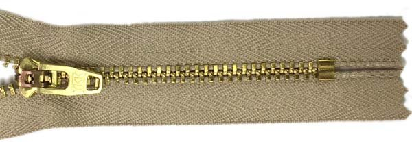 YKK #4.5 Metal Non-Separating Zipper - 9 inch - Tan
