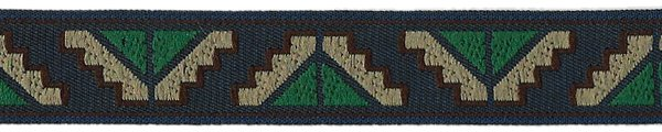 Pyramids Trim - 3/4 inch - Navy/Tan/Green