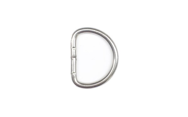 Welded Stainless D-Ring - 1 inch - Nickel
