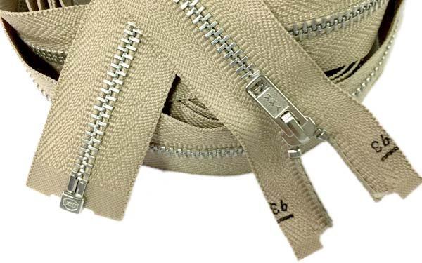 YKK #3 Metal Aluminum Zip-Out Lining Zipper - 96 inch - Tan