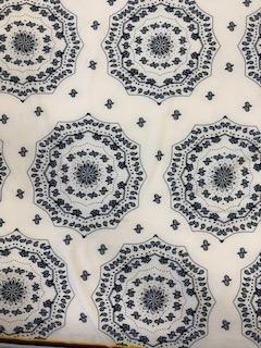 Blue White Paisley Circles Lycra