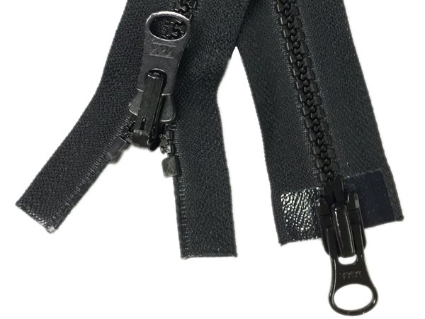 YKK #5 MT 2-Way Separating Reversible Zipper Old Style - 33 inch - Black