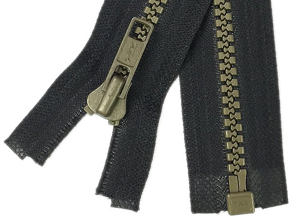 YKK #5 MT 1-Way-Separating Zipper Old Style - 26 inch - Black/Antique