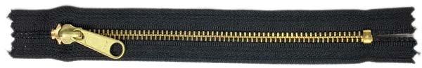 YKK #5 Metal Pocket Zipper - 7 inch - Brass/Black
