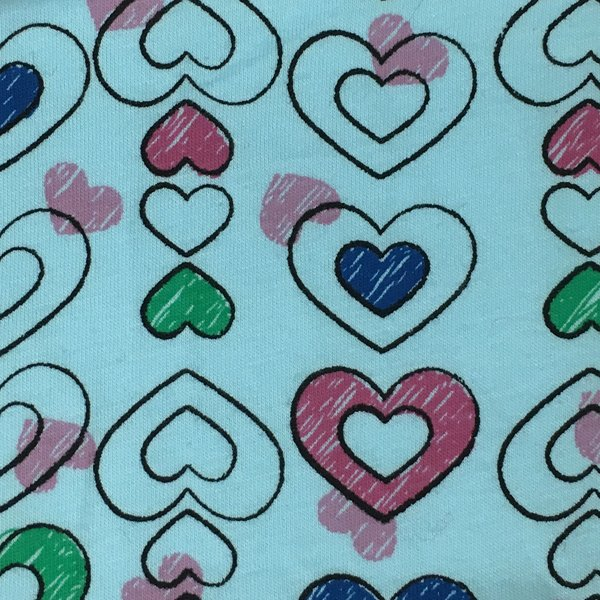 Cotton Knit Jersey - Outlined Hearts