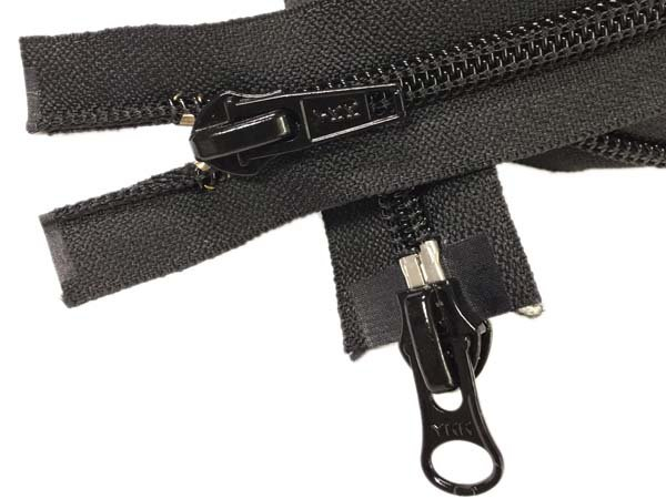 YKK #8 Coil 2-Way Separating Zipper - 40 inch - Black