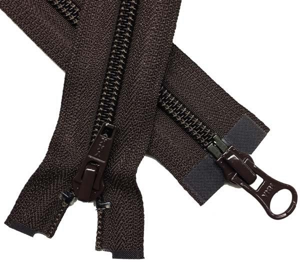 YKK #5 Coil 2-Way Separating Zipper - 30 inch - Brown