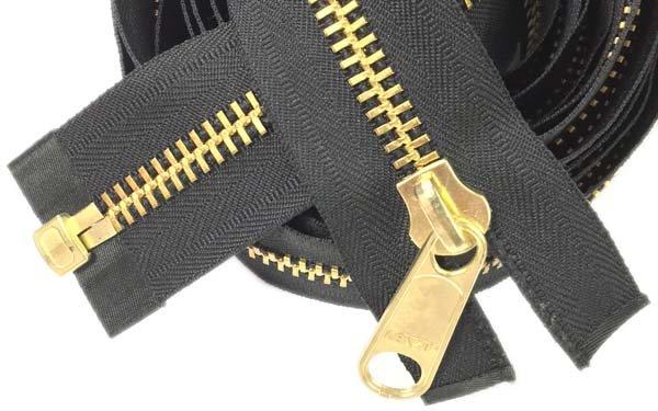 LENZIP #10 Metal 1-Way Separating Zipper - 150 inch - Brass/Black