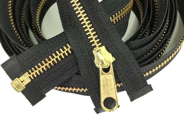 LENZIP #5 Metal 1-Way Separating Zipper - 131 inch - Brass/Black