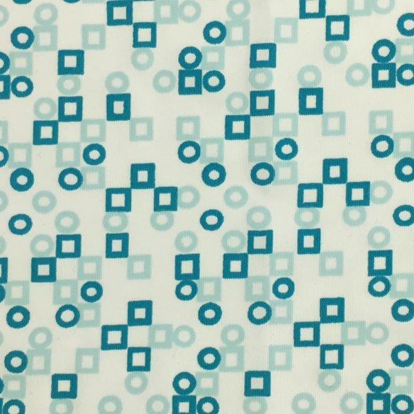 Circle & Squares - White/Teal