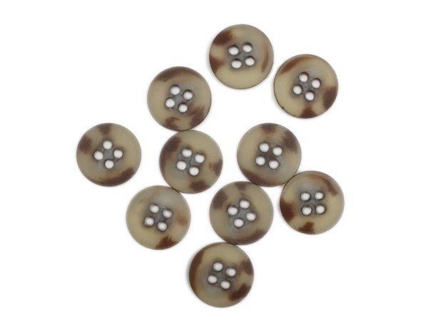Plastic Button - 5/8 inch - Beige Brown