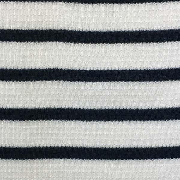 Thermal Knit - White & Navy Stripes