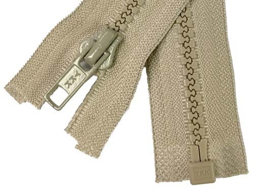 YKK #5 MT 1-Way Separating Zipper Old & New Style - 20 Inch - Tan