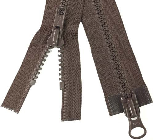 YKK #5 MT 2-Way Separating Zipper Old Style - 28 inch - Brown