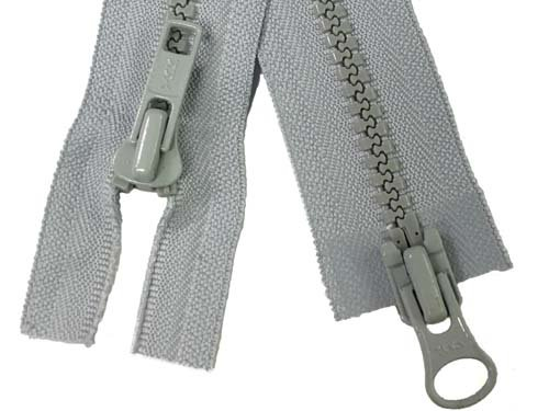YKK #5 MT 2-Way Separating Zipper Old Style - 40 inch - Light Grey