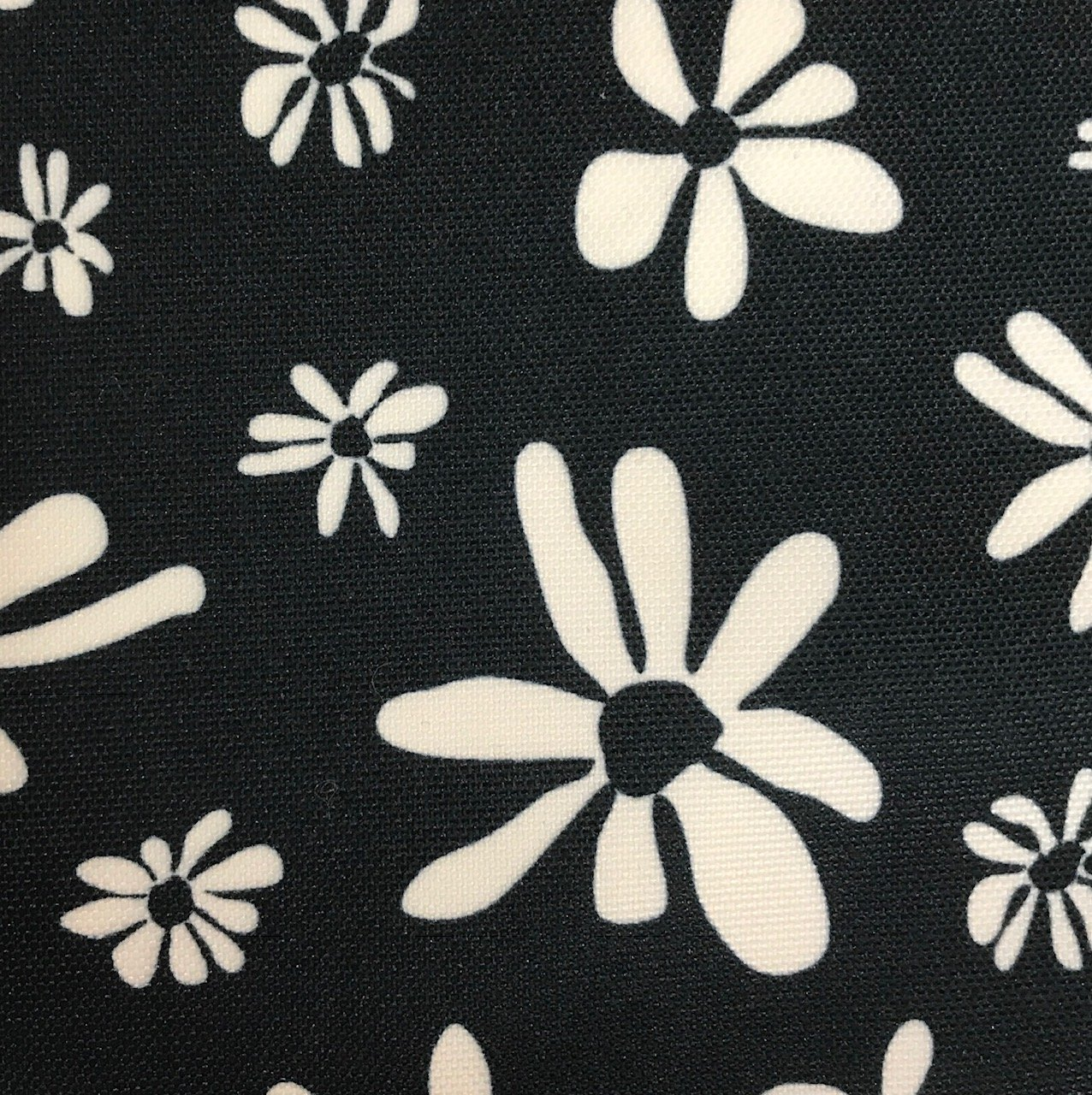 Coated Polyester - Navy/Flowers