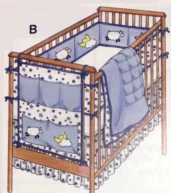 KS3075 - Crib Comforter, Bed Skirt, Fitted Sheet, Bumper Pad & Organizer