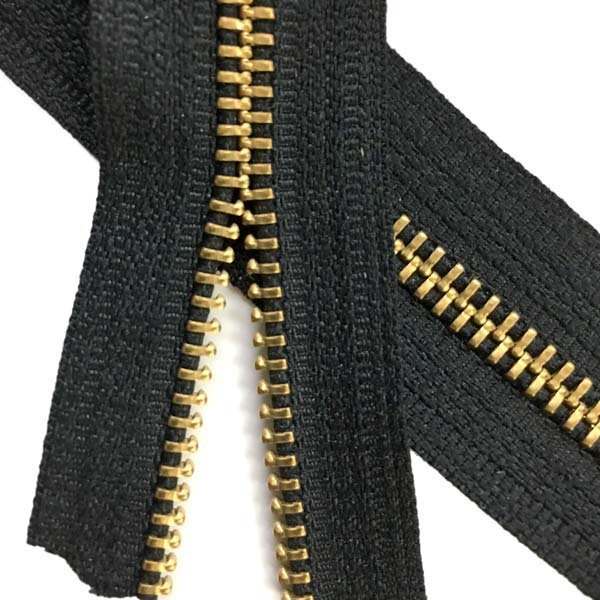 LENZIP #5 Metal Zipper Tape - Brass/Black
