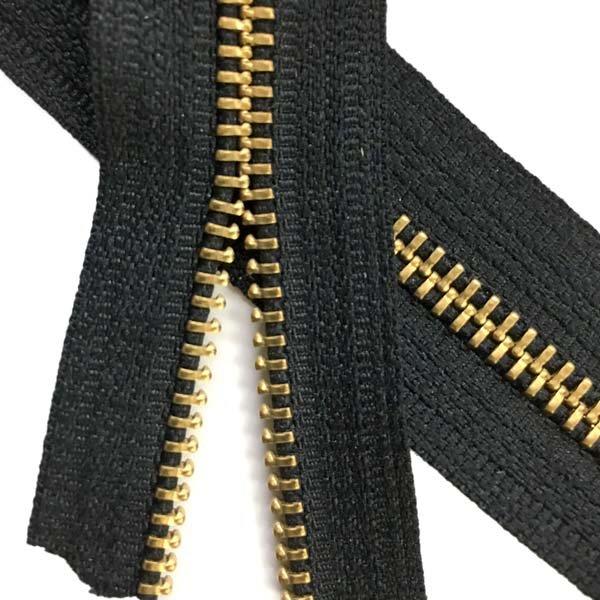 LENZIP #5 Metal Zipper Tape - Brass/Black