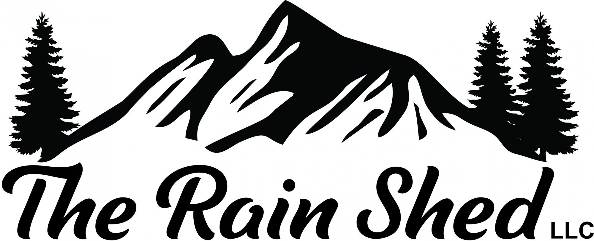 The Rain Shed logo Mountains Trees